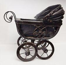 Vintage Doll Carriage Stroller Pram Baby Buggy Wicker Metal Canvas Wood Wheels