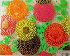 Accessoire ongles,nail art,  Sticker autocollant , fleurs fluo et dorées