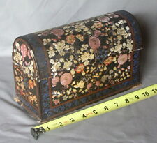 Antique Hand Painted Letter Box Colonial India ca. 1880 Wooden Lacquered Floral