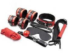 Red Faux Leather Fur Bondage Fetish Restraint Kit Rope Whip Collar BlindFold