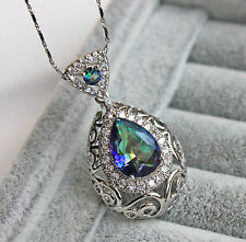 18K White Gold Filled - Blue MYSTICAL Oval Topaz Hollow Vine Pendant Necklace