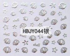 Silver Sea Shells Sea Stars 3D Nail Art Sticker Decals UV Gel Tips Decoration