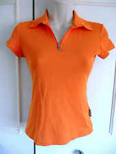 WOW **VERSACE JEANS COUTURE** orange 1/4 zip stretch top ~ size 6/8~short sleeve