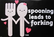 """TODD GOLDMAN """"SPOONING LEADS TO FORKING"""" Hand Signed Large Giclee on Canvas"""