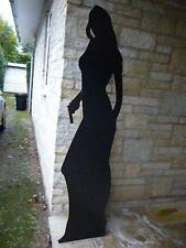BLACK CARDBOARD CUTOUT LIFE SIZE FIGURE OF WOMAN WITH GUN HEIGHT 5FT 6INS
