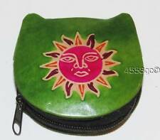 HANDCRAFTED SHANTINIKETAN LEATHER GREEN SUN DESIGN ZIPPERED COIN PURSE WALLET