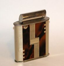 nice 1949 AP modernistic art deco enamel engine turned automatic desk lighter