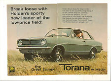 ORIGINAL VINTAGE 1967 HB HOLDEN TORANA AUSTRALIAN 2 PAGE COLOR ADVERT