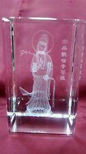 Bevelled Edge Glass 3D Laser Block Paperweight : Kuan Yin Goddess