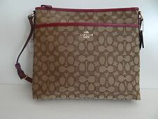 Coach Womens khaki Fuchsia Varsity File Crossbody Bag F55363 SALE Free Shipping