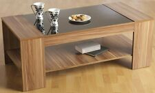 Coffee Table Walnut Veneer Black Gloss Occasional Living Room Furniture