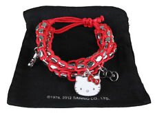 Sanrio Hello Kitty Silver Beaded Red String Rope Charm Bracelet New in Pouch