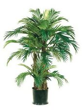 4' PHOENIX TRIPLE PALM ARTIFICIAL TREE SILK PLANT BUSH DECOR POTTED HOME DECOR