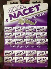 100 Blades Gillette NACET NEW STAINLESS Double edge blade Razor blades. Sale