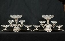 Pair Sheffield Silver Plate Epergne Centrepiece Glass Dishes