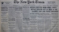 HITLER EXECUTES MORE CHIEFS NIGHT OF THE LONG KNIVES - ROHM PUTSCH 7-1934 July 2