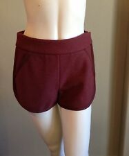 MISSIONI  DESIGNER Sz US 6 Casual  Wine Burgundy Fleece Wool Shorts
