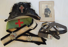 Antique LOT Masonic Knights Templar Archive Sash Badges Sword Belt Hat Photo