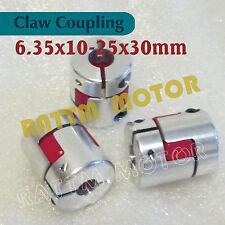 3Pcs 6.35x10mm Flexible Plum Couplings Jaw Spider Shaft Couplers D25L30 For CNC