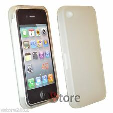 Cover Custodia Silicone Gel Bianco Opaco Per iPhone 4/4G + Pellicola Display LCD
