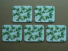 (Set Of 5) Design Imports Ltd 1991 Leaves & Berries Coasters With Cork Bases
