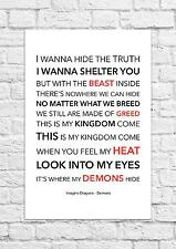 Imagine Dragons - Demons - Song Lyric Art Poster - A4 Size