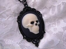 HALLOWEEN #JRJ8181 BLACK ENAMEL EVIL SKULL SKULLS SKELETON CAMEO NECKLACE GOTHIC