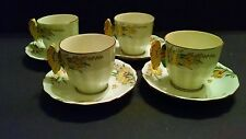 Set of 4 Vintage Yellow Butterfly Handle Cups and Saucers - Made in Japan