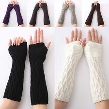 Mode Damen Handschuhe Armstulpen Pulswärmer Handstulpen Lang Strick Fingerlos