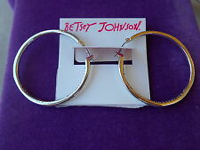 Betsey Johnson Authentic NWT Silver-Tone Pave Inside Out Hoop Earrings