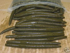 "4"" Stick Senko Style Green Pumpkin 100 count bag Bulk Bass Plastics Worm"