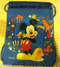 DISNEY MICKEY MOUSE + PLUTO BLUE DRAWSTRING BAG BACKPACK TRAVEL STRING POUCH