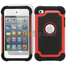 Hybrid Rugged Rubber Matte Hard Case+Screen Guard for Apple iPod Touch 4 4th Red