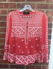 ISABEL MARANT RED WHITE FLORAL EMBROIDERED SILK TUNIC TOP SHIRT BLOUSE-34/XS✨��