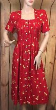 Jessica Howard Red Yellow Floral Vintage Dress Short Sleeve Pleated Size 6