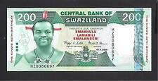 Swaziland p-35 , UNC , 200 Emalangeni , 2008, REPLACEMENT NOTE!!