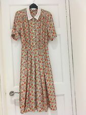 Vintage Size 12 Floral Midi Dress With Collar