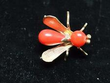 Beautiful Victorian 18 KT. Yellow Gold & Coral Bee Pin