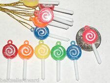 6pc Miniature dollhouse Christmas Lollipops candy sweets charms findings beads *