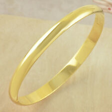 Korean Jewerly Simple  24K Yellow Gold Plated Women's Smooth Bangle Bracelet