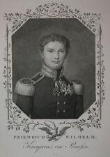c1820 Friedrich Wilhelm IV. Preußen Kupferstich-Porträt Bollinger Gebauer