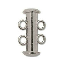 EIGHT (8) Beadsmith Silver-Plated Tube Clasps - TWO STRAND SLIDE LOCK