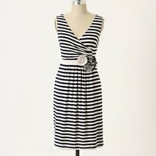 Anthropologie Little Yellow Button Perilla Navy Blue Striped Jersey Dress- Small