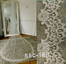 White 1 Tier Lace Appliques Cathedral Bridal Wedding Bride Veils 300CM SV039au