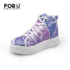 Floral Womens High Top Ankle Lightweight Boots Ladies Flat Trainer Sneaker Shoes