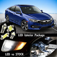10x White Interior & Reverse LED Lights Package Kit For 2013-2016 Honda Civic