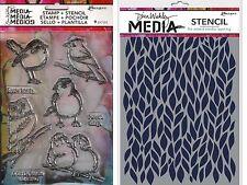 Ranger ~ Little Birdies ~ Stamp & Stencil Set ~ Dina Wakley Media ~ Bird Owl