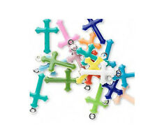 25 Double Sided Cross Charms Mixed Assorted Enameled Colors 16MM
