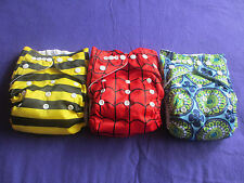 Lot of 3 Boys AIO One Size NIP Tagless ALVA cloth double-gusset diaper US Seller
