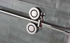 6.6FT Sliding barn shower door twin roller frameless sliding track hardware kit